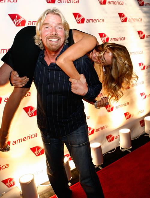 Richard Branson Celebrates Virgin Airlines Inaugural Flight To Vegas